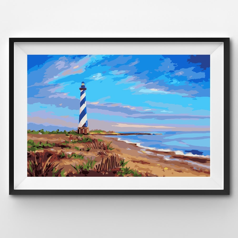 Painting By Number Ocean Sand Dunes Lighthouse Seaside