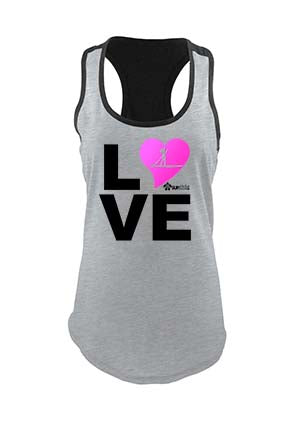 LOVE stand up paddle board SUP Racer Girl Pink Black Grey Two Tone Racerback Tank Top