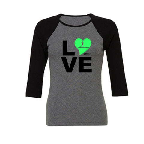 3/4 length raglan womens tshirt love paddle board green heart