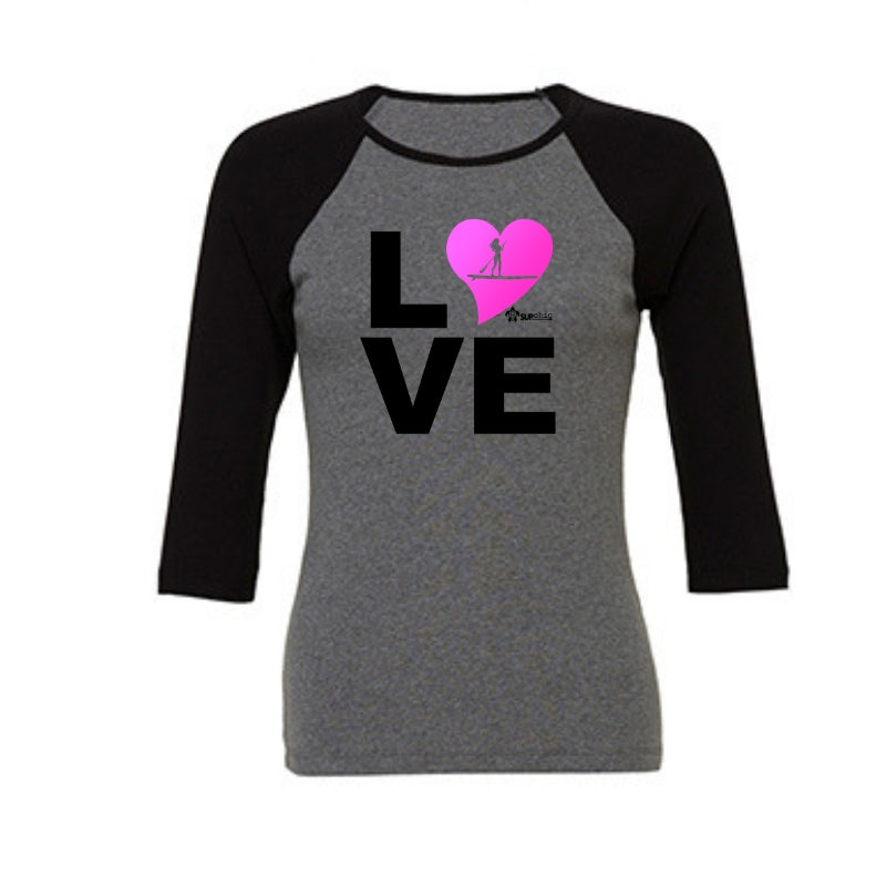 3/4 length raglan womens tshirt love paddle board pink heart