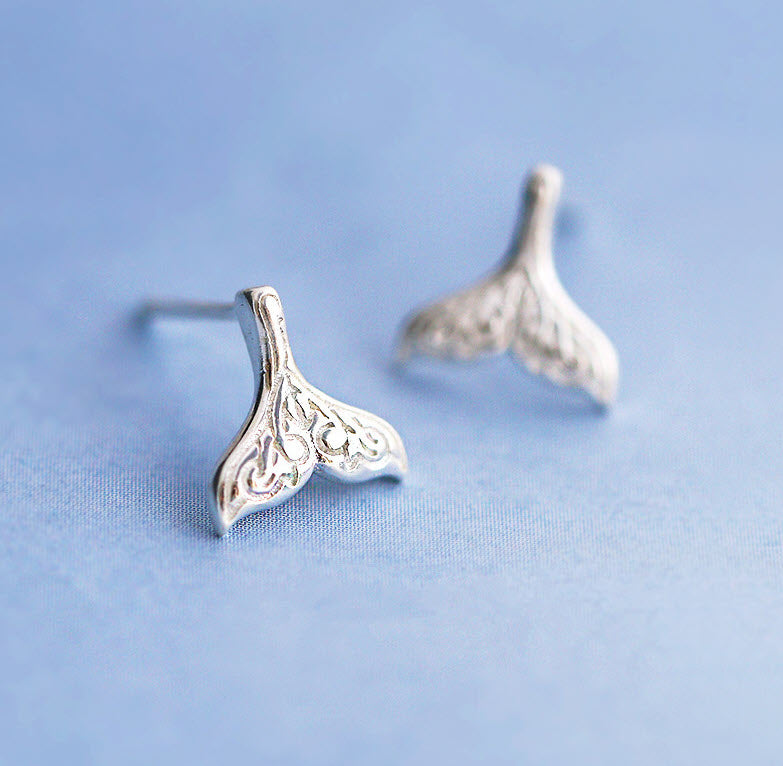 mermaid tail whale tail earrings 925 sterling silver posts