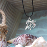 BAJA TURTLE - Black corded necklace with paddling turtle silver SUP pendant