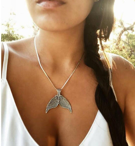 Boho antique silver mermaid tail whale tail pendant necklace