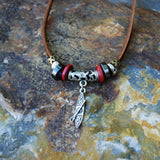 leather suede brown stand up paddle board necklace red bead SUP jewelry