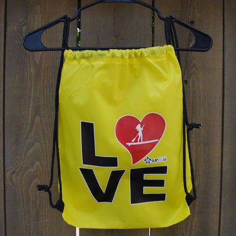 Yellow water resistant bag with black rope drawstring - LOVE SUP