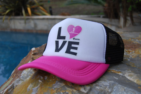 Trucker hat: black / pink foam panel trucker SUP hats