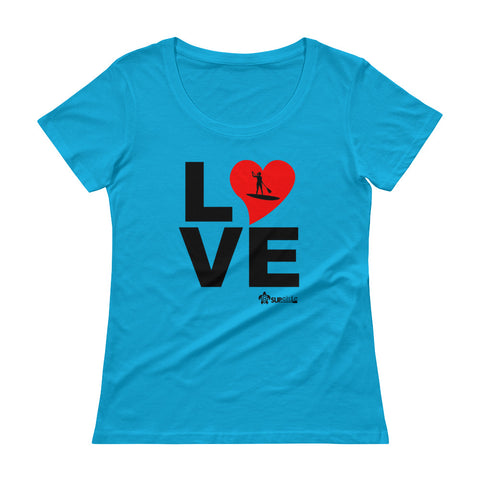 Ladies classic cut short sleeve tee with LOVE SUP pony tail paddler - IN STOCK