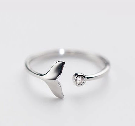 mermaid tail / whale tail 925 sterling silver ring jewelry