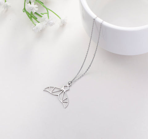 mermaid tail whale tail stainless steel pendant necklace