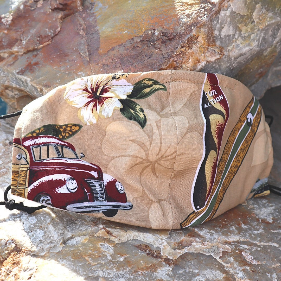 Duke's Hawaiian Woodie Surf Mask - Tan brown