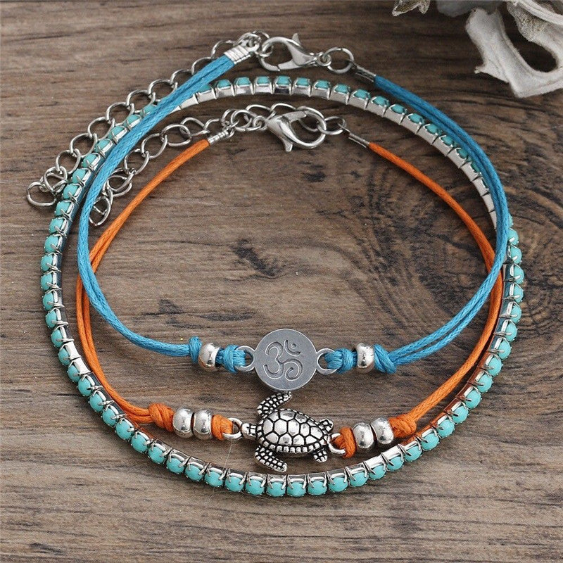 Turtle Turquoise Orange Beach Anklet Set