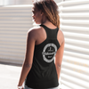 gathered ladies racerback tank top in black - silver paddleboarders do it standing up