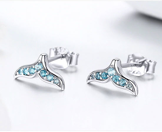 blue sterling silver mermaid whale tail post earrings