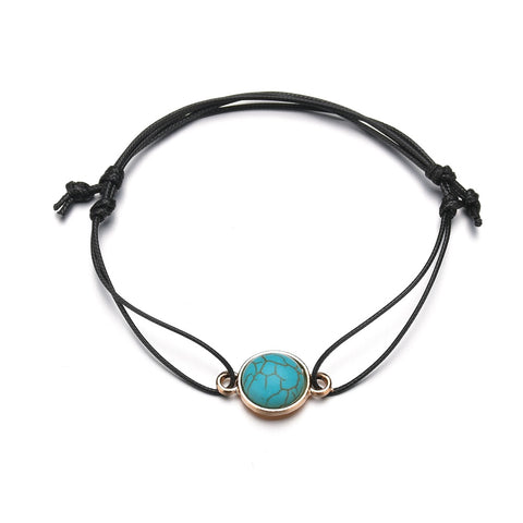 Turquoise Stone Black Corded Adjustable Beach Bracelet