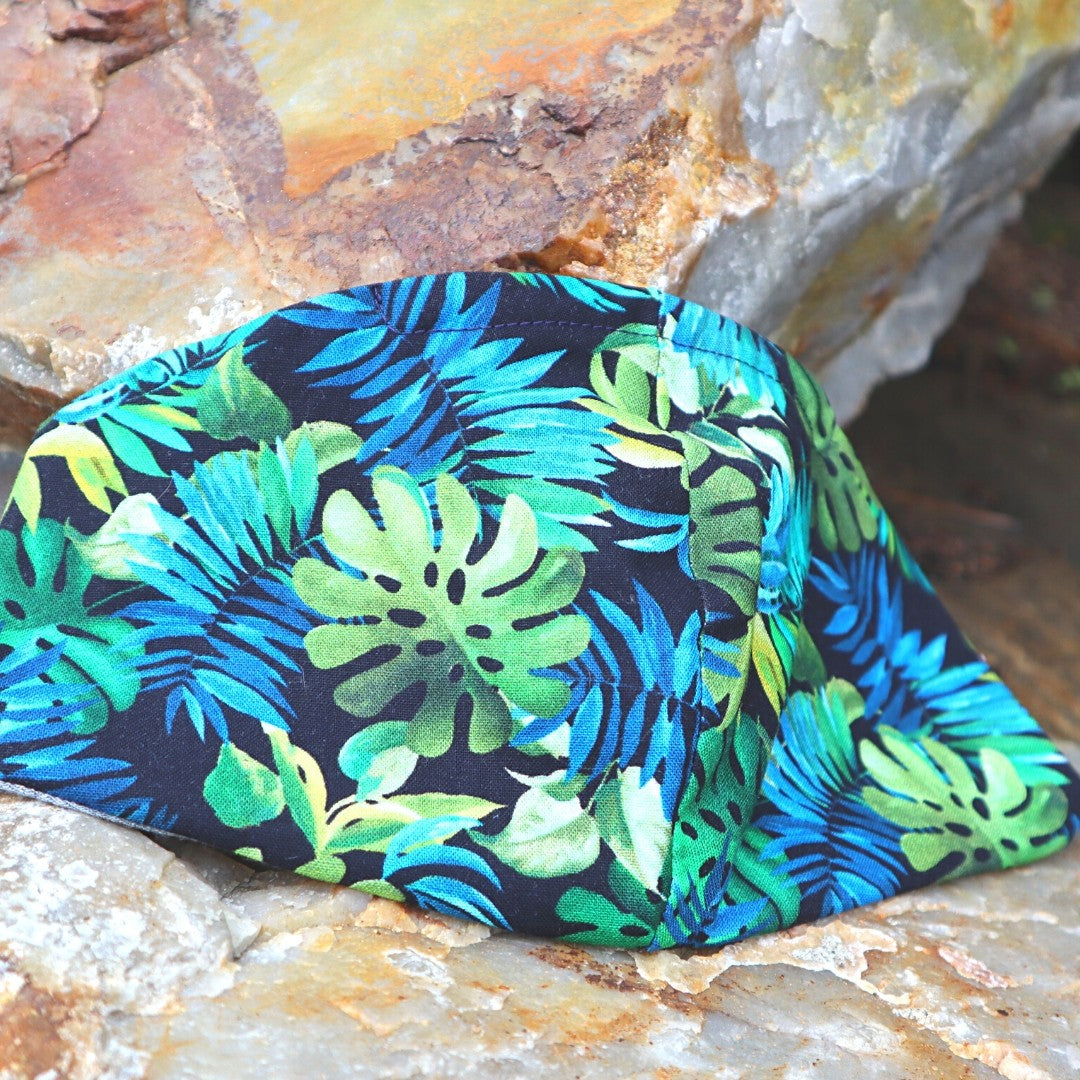 hawaiian shirt mask facial covering blue and green leaves