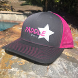 Trucker hat: pink / grey mid profile trucker SUP hat - CHiC paddleboarding style