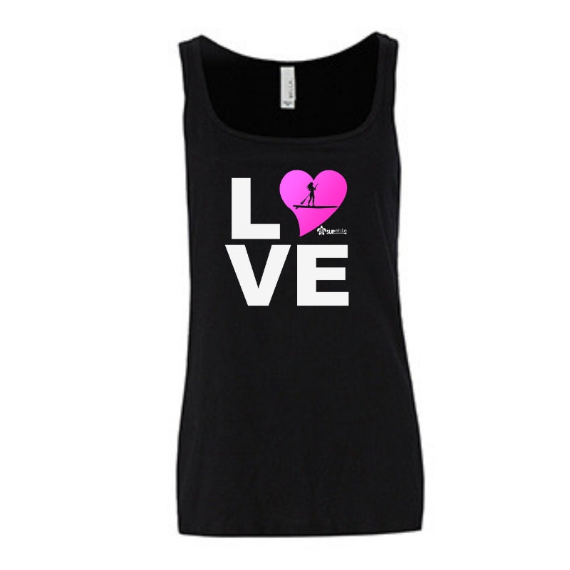 Relaxed jersey womens tank top LOVE Stand Up Paddle Board