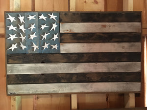 Black and White Barnwood Flag