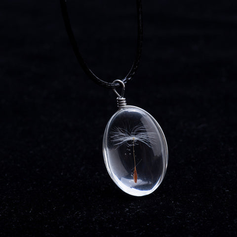 Crystal Glass Ball Dandelion Necklace