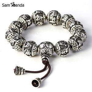 Silver Plated Rope Buddha  Beads Charm Bracelets