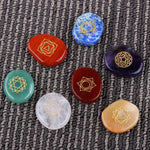 7 piece Engraved Chakra Stone Palm Stone Crystal