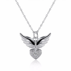 Angel Heart Wings Necklace 925 silver plated
