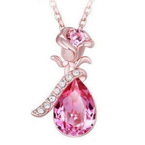 Angel Tears Shape Crystal Pendant Necklace