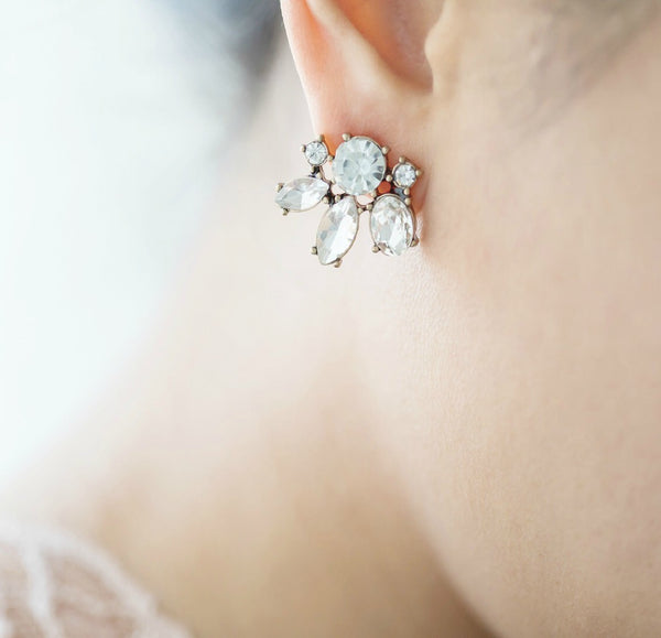 Feminine, pretty crystals stud bridesmaid earrings great for everyday or your wedding day.