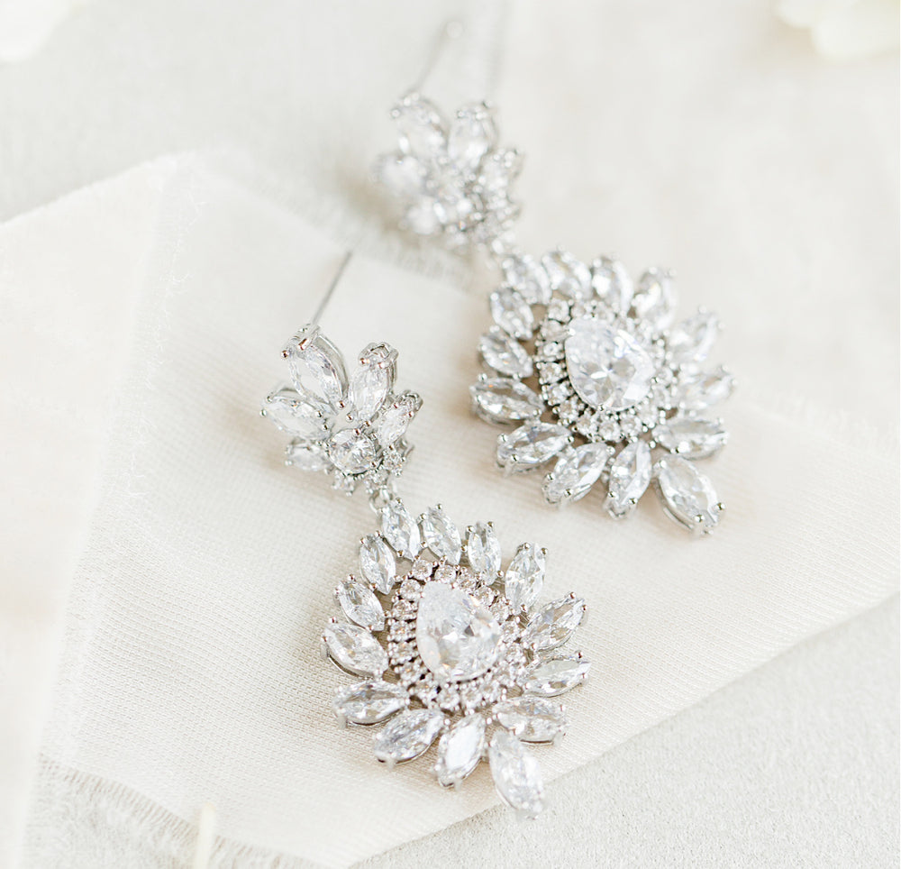 silver bridal earrings