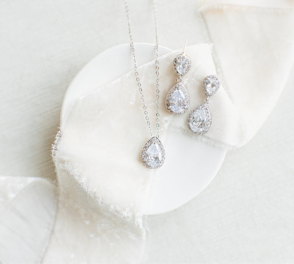 Margot Teardrop Earrings & Necklace Wedding Jewelry Set