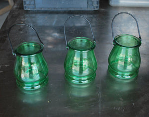 Green Glass Candle Holder Lanterns, Set of 3, Tabletop Display & Decor, Unbranded, Colorado Restaurant Consignment