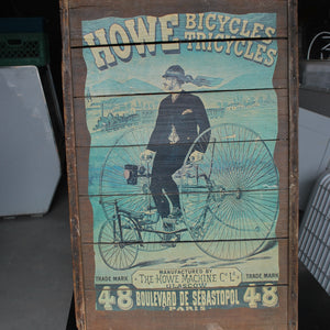 "Wooden Pallet Wall Art ""Howe Bicycles Tricycles"", Wall Decor, Chainbreaker White IPA, Colorado Restaurant Consignment"