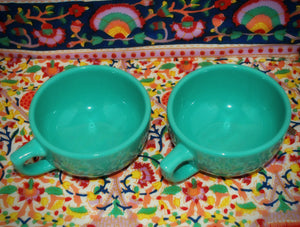 Jumbo Cappuccino Coffee Cups, Green, Set of 2, Coffee Mugs & Tea Cups, Colorado Restaurant Consignment, Colorado Restaurant Consignment