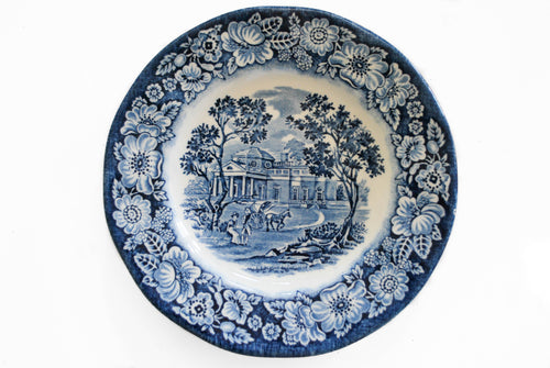 Staffordshire Liberty Blue Monticello Blue and White Bread and Butter Plate, Vintage China, Colorado Restaurant Consignment, Colorado Restaurant Consignment