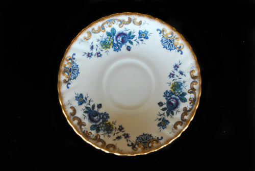 Vintage Royal Dover Bone China Saucer, Blue Floral with Gold Accents, Made in England, Vintage China, Colorado Restaurant Consignment, Colorado Restaurant Consignment