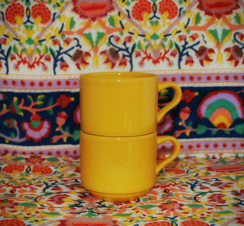 Set of 2 Small Yellow Tea Cup/Coffee Cups, Coffee Mugs & Tea Cups, Colorado Restaurant Consignment, Colorado Restaurant Consignment