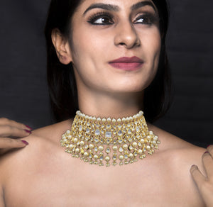 18k Gold and Diamond Polki Choker Necklace with shiny pearls alternating with uncut drops - G. K. Ratnam