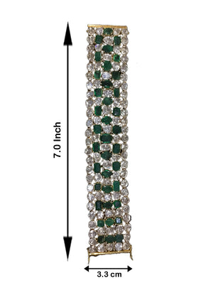 18k Gold and Diamond Polki Open Setting Bracelet Pair with Natural Emeralds