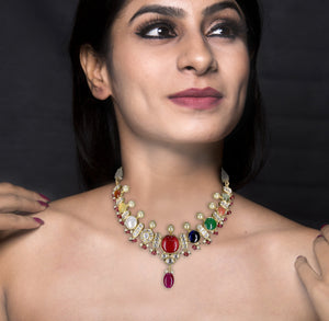 18k Gold and Diamond Polki Navratna Necklace Set enhanced with Rubies and Pearls