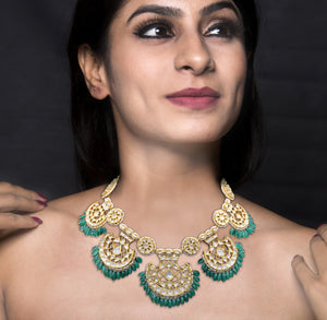 18k Gold and Diamond Polki Pankhi (fan) Necklace Set with emerald-grade beryl hangings