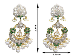 14k Gold and Diamond Polki Open Setting Chand Bali Earring Pair with Natural freshwater pearls