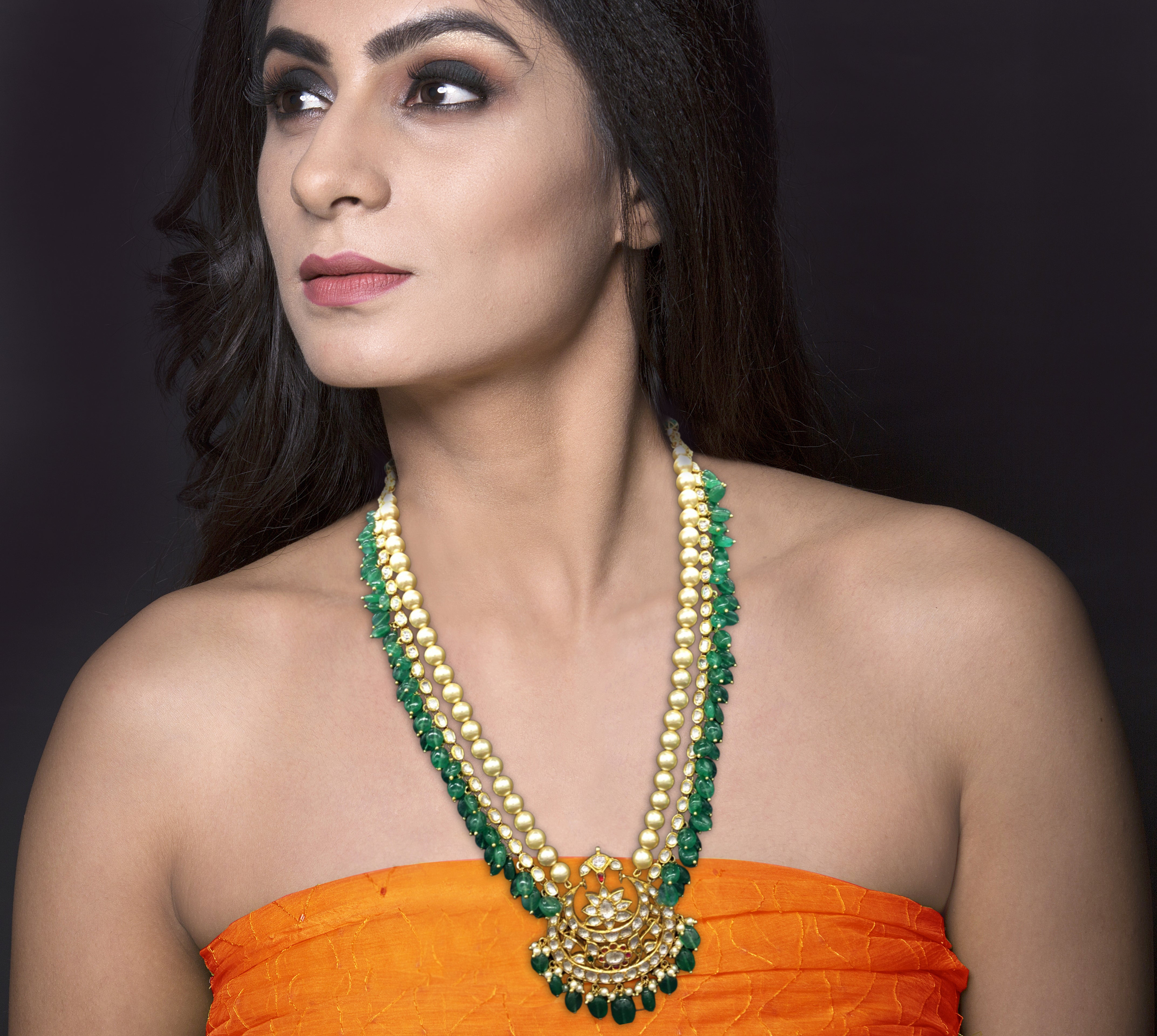 18k Gold and Diamond Polki chand-shaped Pendant strung to uncut ovals enhanced with Green Beryls - G. K. Ratnam