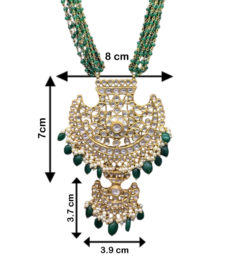 18k Gold and Diamond Polki Pankhi (fan) Pendant Set with beryl and pearl chains