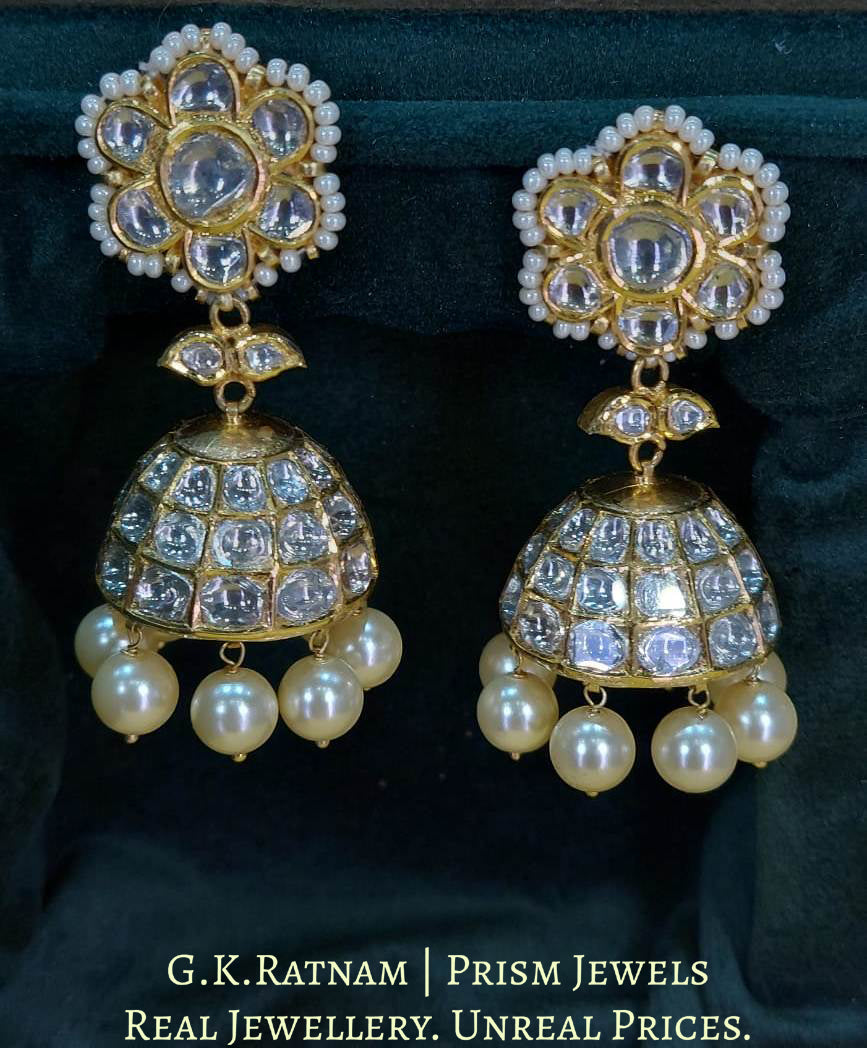 18k Gold and Diamond Polki Jhumki Earring Pair with lustrous Pearls