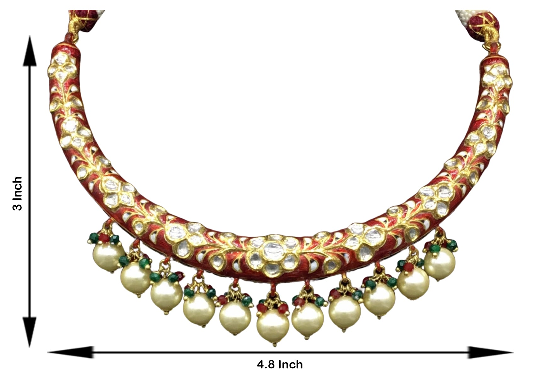 22k Gold and Diamond Polki Hustlie Necklace Set with bright red enamelling