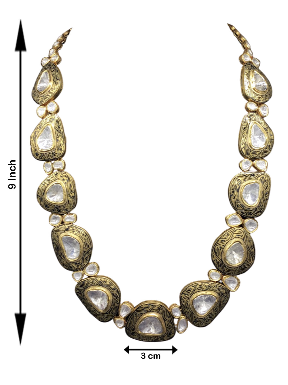 18k Gold and Diamond Polki Necklace with Big Uncuts and intricate goldwork