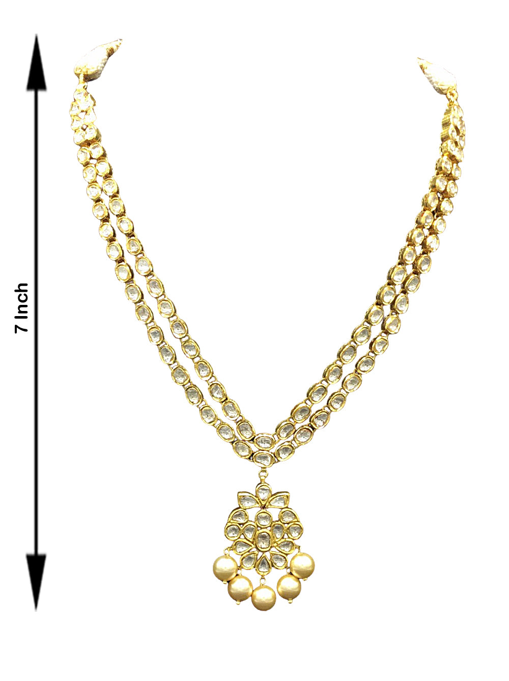 Traditional Gold and Diamond Polki two-line Necklace Set - G. K. Ratnam
