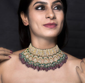 23k Gold and Diamond Polki Necklace Set with Strawberry Quartz, Green Beryls and Antiqued Pearls
