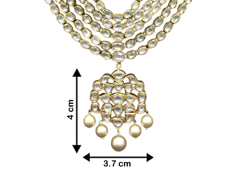 Traditional Gold and Diamond Polki five-line Necklace Set with south-sea-like pearls - G. K. Ratnam