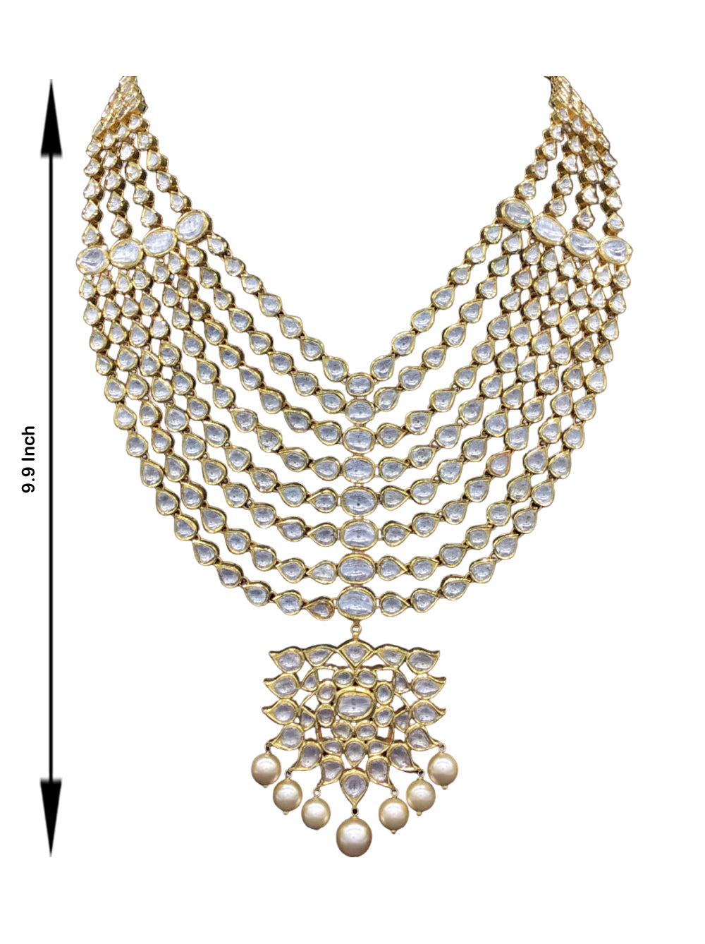 18k Gold and Diamond Polki eight-line Necklace Set with Syndicate Uncut Diamonds - G. K. Ratnam
